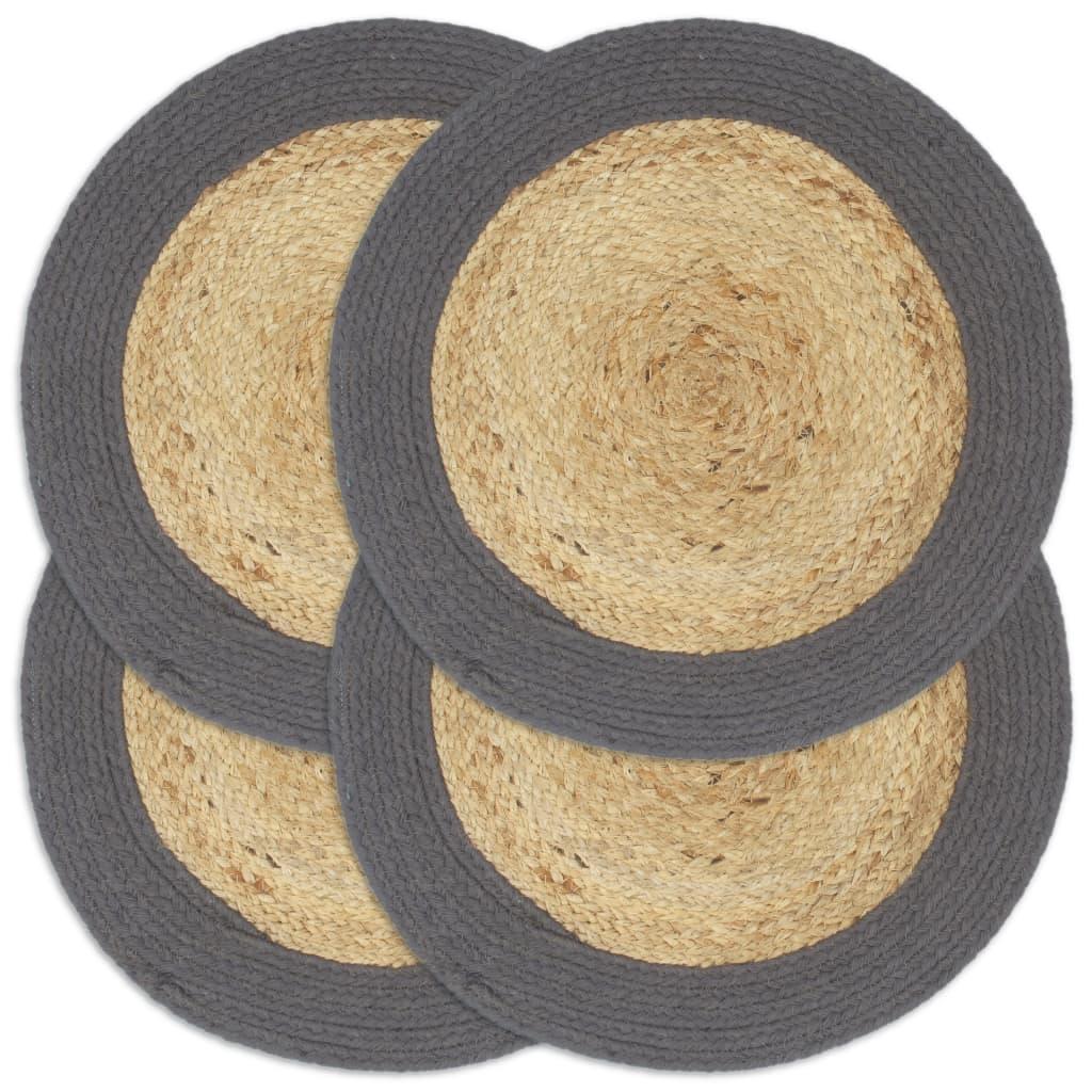 Prostírání 4 ks přírodní a antracitové 38 cm juta a bavlna