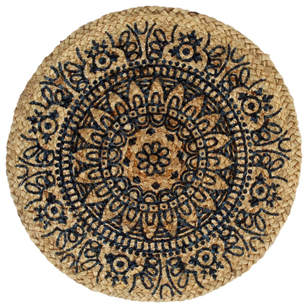 Placemats 4 st rond 38 cm jute donkerblauw