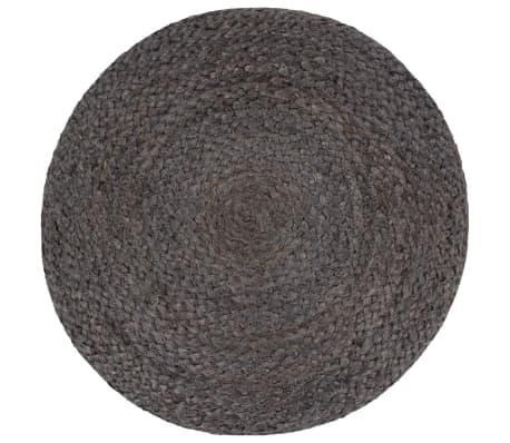 vidaXL Pufas, tamsiai pilkos sp., 45x30cm, džiutas, rankų darbo[2/3]