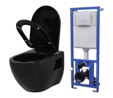 vidaXL Inodoro suspendido de pared con cisterna oculta cerámica negro