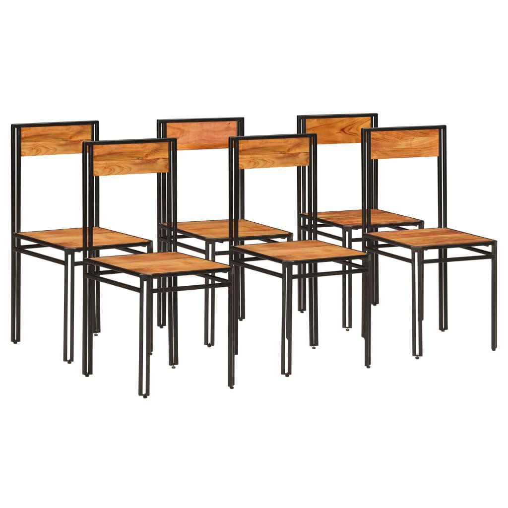 vidaXL Jídelní židle z masivní akácie 6 ks s sheeshamovým povrchem