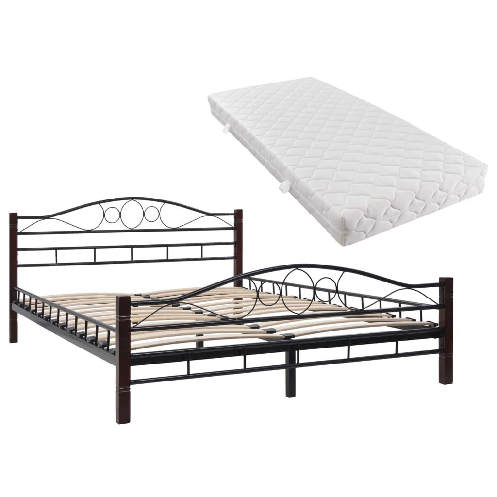 0c3a12a2c116 vidaXL Kovová postel s matrací 140 x 200 cm