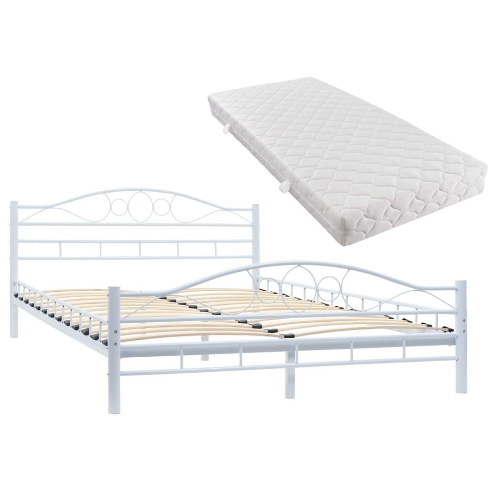 vidaXL Κρεβάτι Λευκό 140 x 200 εκ. Μεταλλικό με Στρώμα