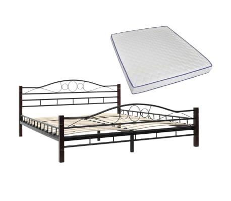 vidaxl metallbett mit memory schaum matratze 160 x 200 cm g nstig kaufen. Black Bedroom Furniture Sets. Home Design Ideas