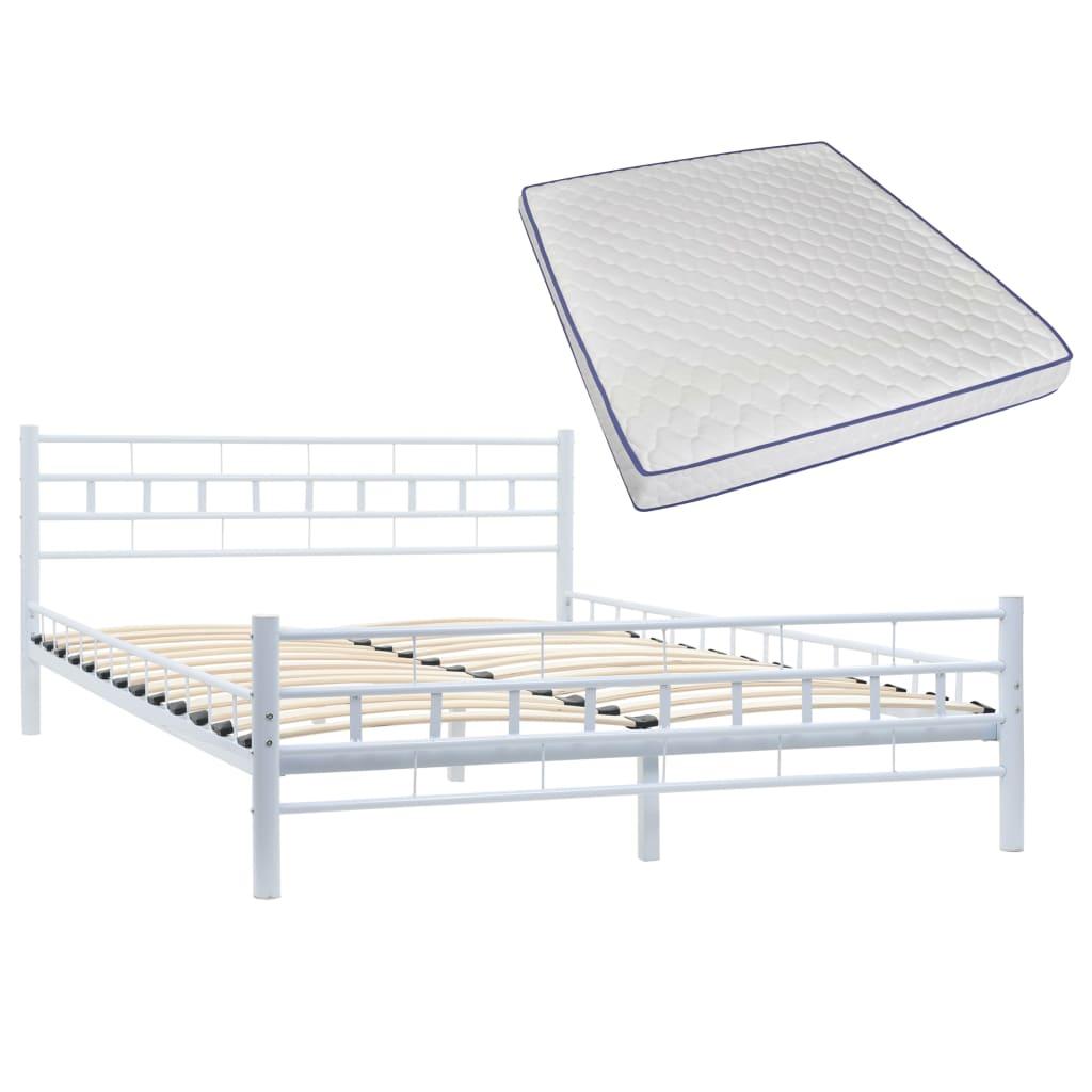 vidaXL Κρεβάτι Ορθογ. Σχέδιο Λευκό 140x200 εκ Μεταλλικό + Στρώμα Αφρού