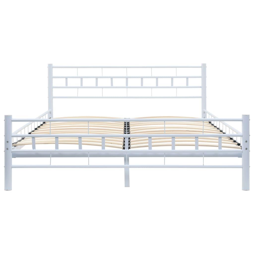 vidaXL Bed met traagschuim matras blok ontwerp metaal wit 140x200 cm