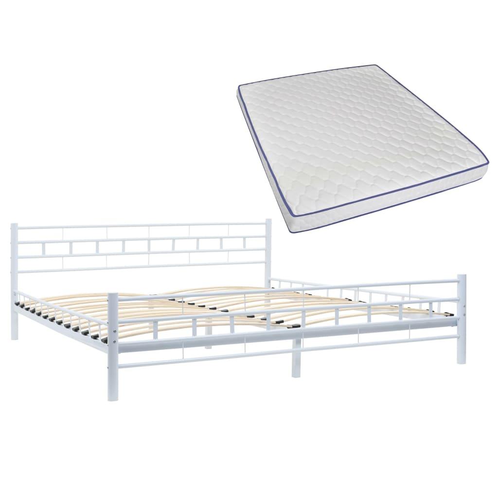 vidaXL Κρεβάτι Λευκό 180 x 200 εκ. Μεταλλικό με Στρώμα Αφρού Μνήμης