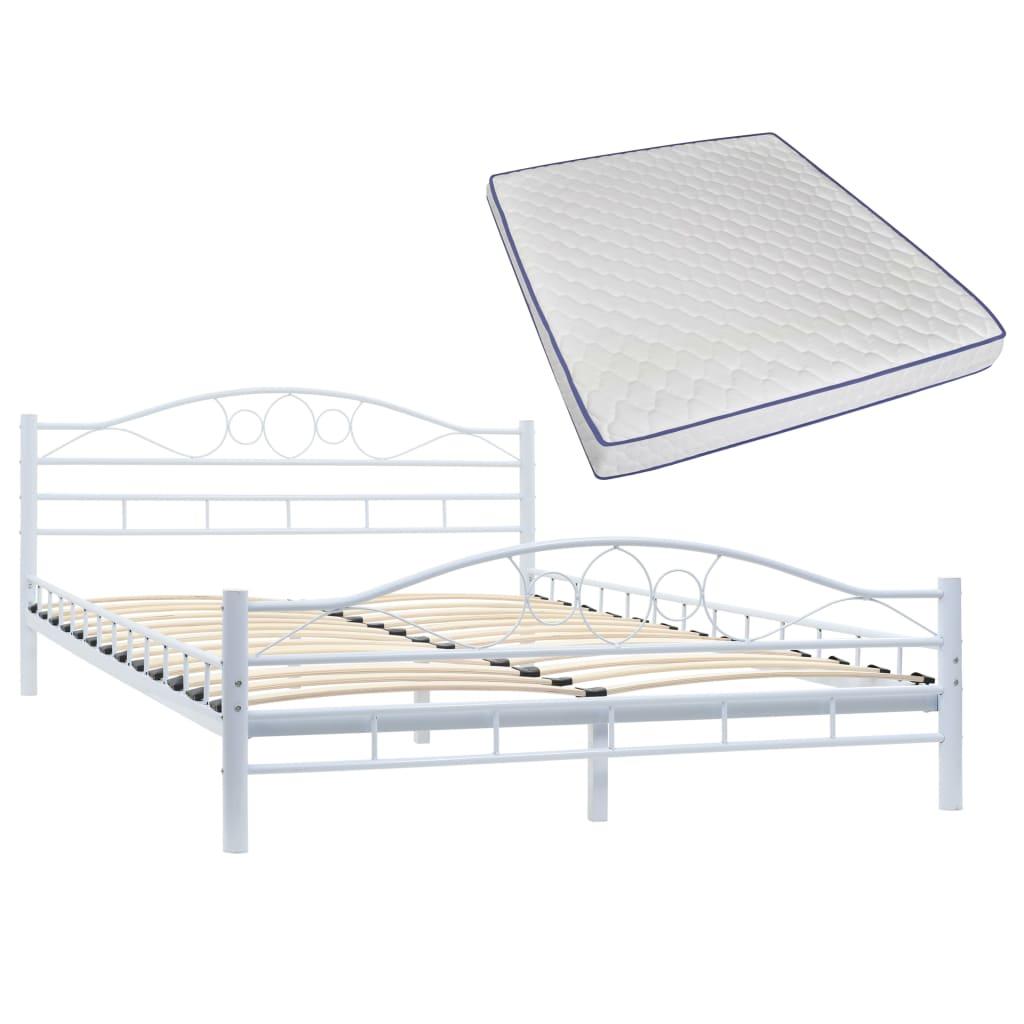 vidaXL Κρεβάτι Λευκό 140 x 200 εκ. Μεταλλικό με Στρώμα Αφρού Μνήμης