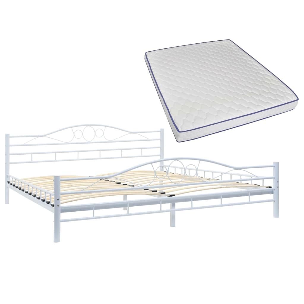 dfe40bef05e4 vidaXL Kovová postel s matrací z paměťové pěny bílá 180x200 cm spirály