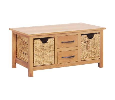 vidaXL Sideboard 88x53x43 cm Solid Oak Wood and Water Hyacinth