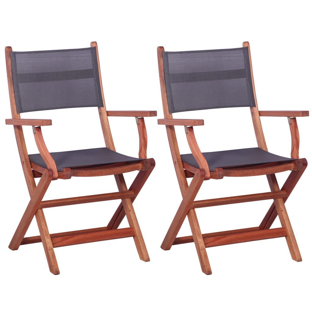 vidaXL Krzesła ogrodowe, 2 szt., szare, eukaliptus i textilene