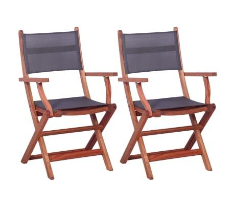 vidaXL Outdoor Chairs 2 pcs Grey Solid Eucalyptus Wood and Textilene