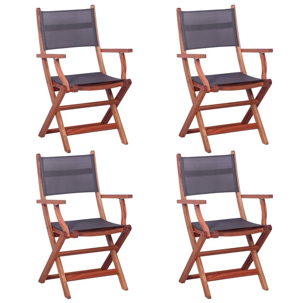 vidaXL Καρέκλες Κήπου 4 τεμ. Γκρι Μασίφ Ξύλο Ευκαλύπτου / Textilene