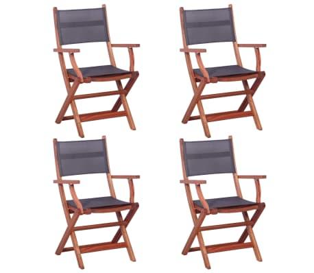 vidaXL Outdoor Chairs 4 pcs Grey Solid Eucalyptus Wood and Textilene