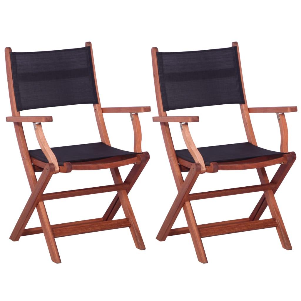 vidaXL Krzesła ogrodowe, 2 szt., czarne, eukaliptus i textilene