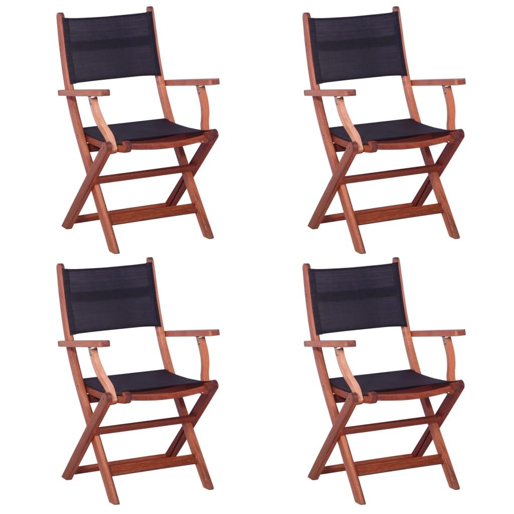 vidaXL Krzesła ogrodowe, 4 szt., czarne, eukaliptus i textilene