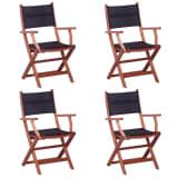 vidaXL Outdoor Chairs 4 pcs Black Solid Eucalyptus Wood and Textilene