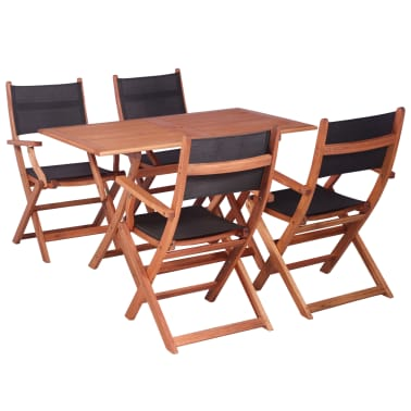 vidaXL Juego de muebles de jardín 5 pzas madera eucalipto y