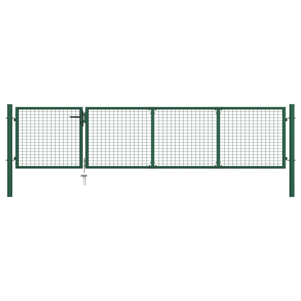 vidaXL Poartă de grădină, verde, 350 x 75 cm, oțel poza 2021 vidaXL