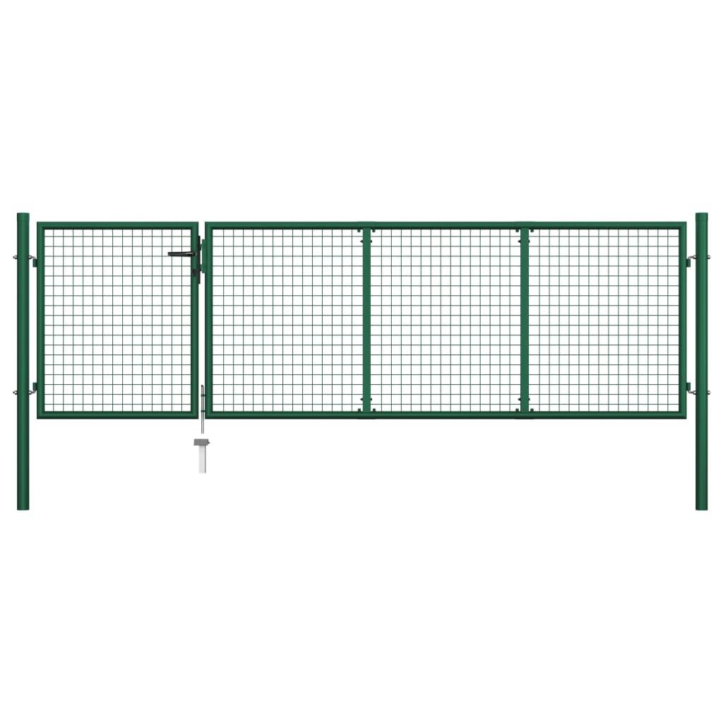 vidaXL Poartă de grădină, verde, 350 x 100 cm, oțel vidaxl.ro