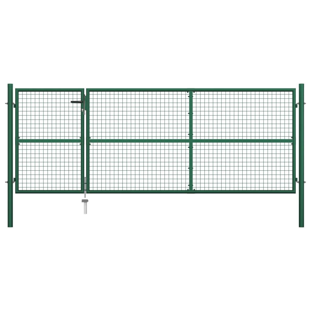 vidaXL Poartă de grădină, verde, 350 x 125 cm, oțel vidaxl.ro