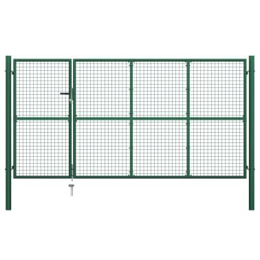 vidaXL Vrtna vrata čelična 350 x 150 cm zelena[1/6]