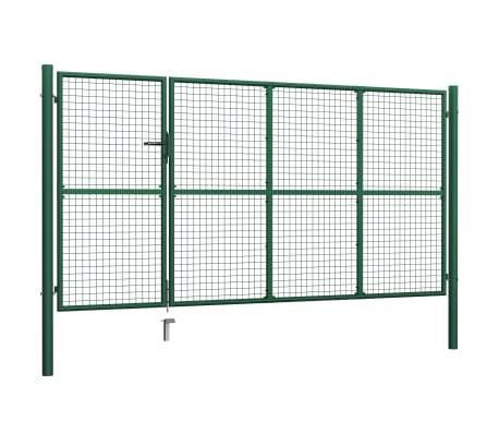 vidaXL Vrtna vrata čelična 350 x 150 cm zelena[2/6]
