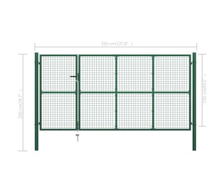 vidaXL Vrtna vrata čelična 350 x 150 cm zelena[6/6]