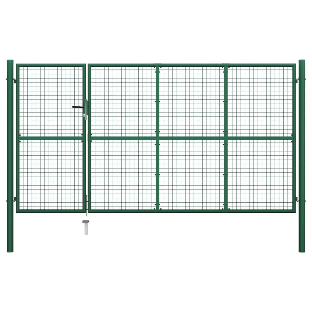 vidaXL Poartă de grădină, verde, 350 x 175 cm, oțel imagine vidaxl.ro