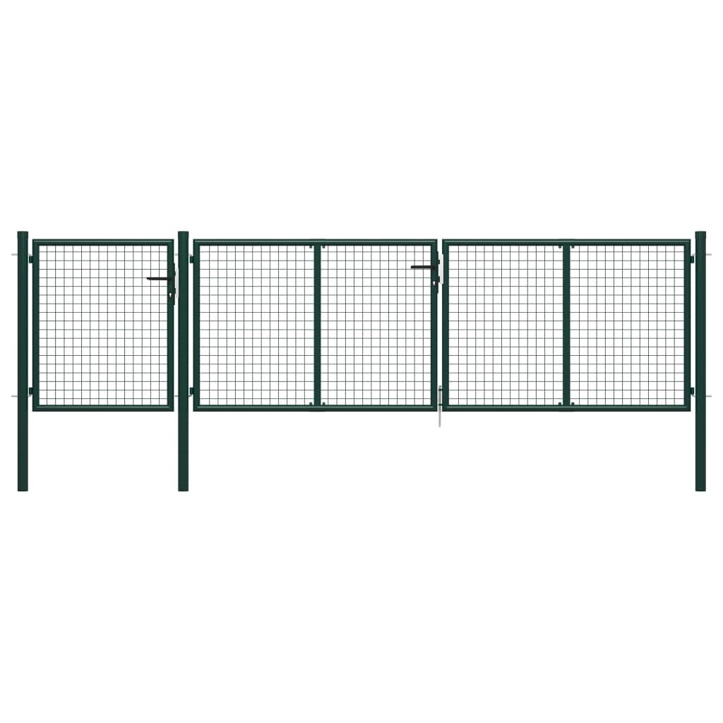 vidaXL Poartă de grădină, verde, 400 x 75 cm, oțel vidaxl.ro