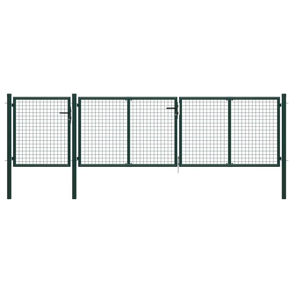 vidaXL Poartă de grădină, verde, 400 x 100 cm, oțel vidaxl.ro