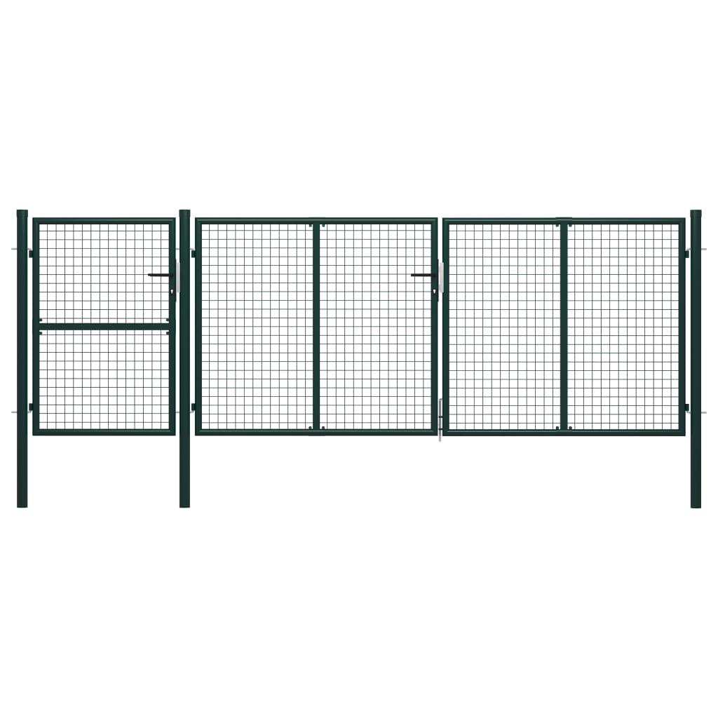 vidaXL Poartă de grădină, verde, 400 x 125 cm, oțel imagine vidaxl.ro