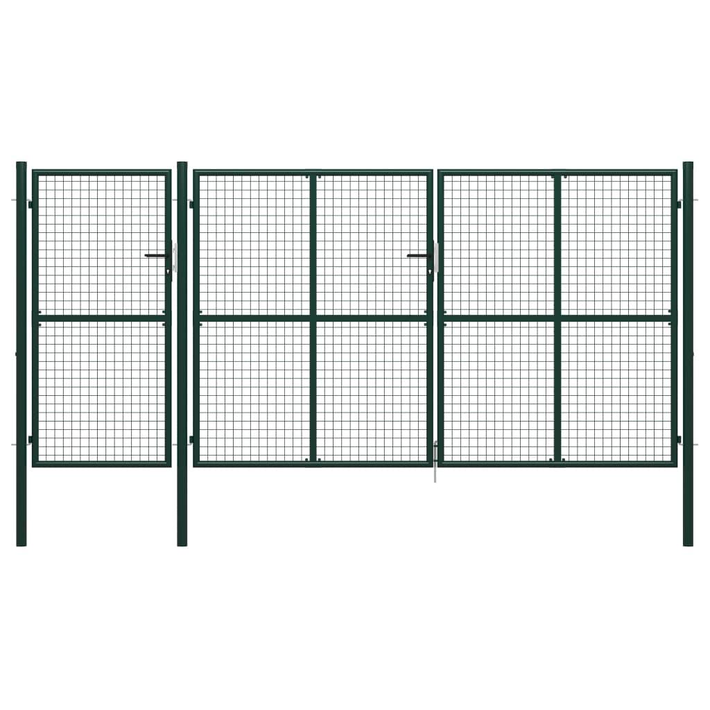 vidaXL Poartă de grădină, verde, 400 x 200 cm, oțel vidaxl.ro