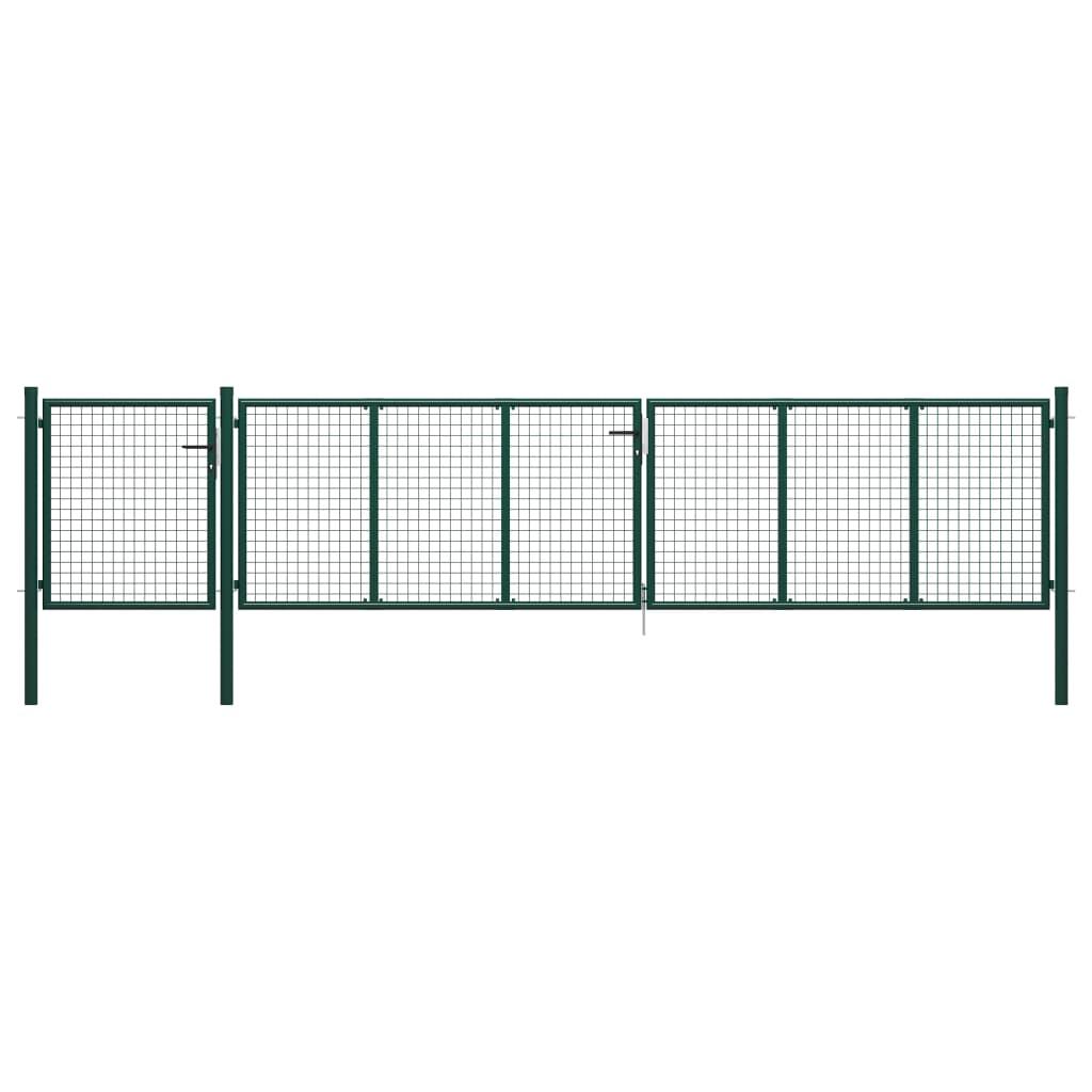 vidaXL Poartă de grădină, verde, 500 x 75 cm, oțel poza 2021 vidaXL