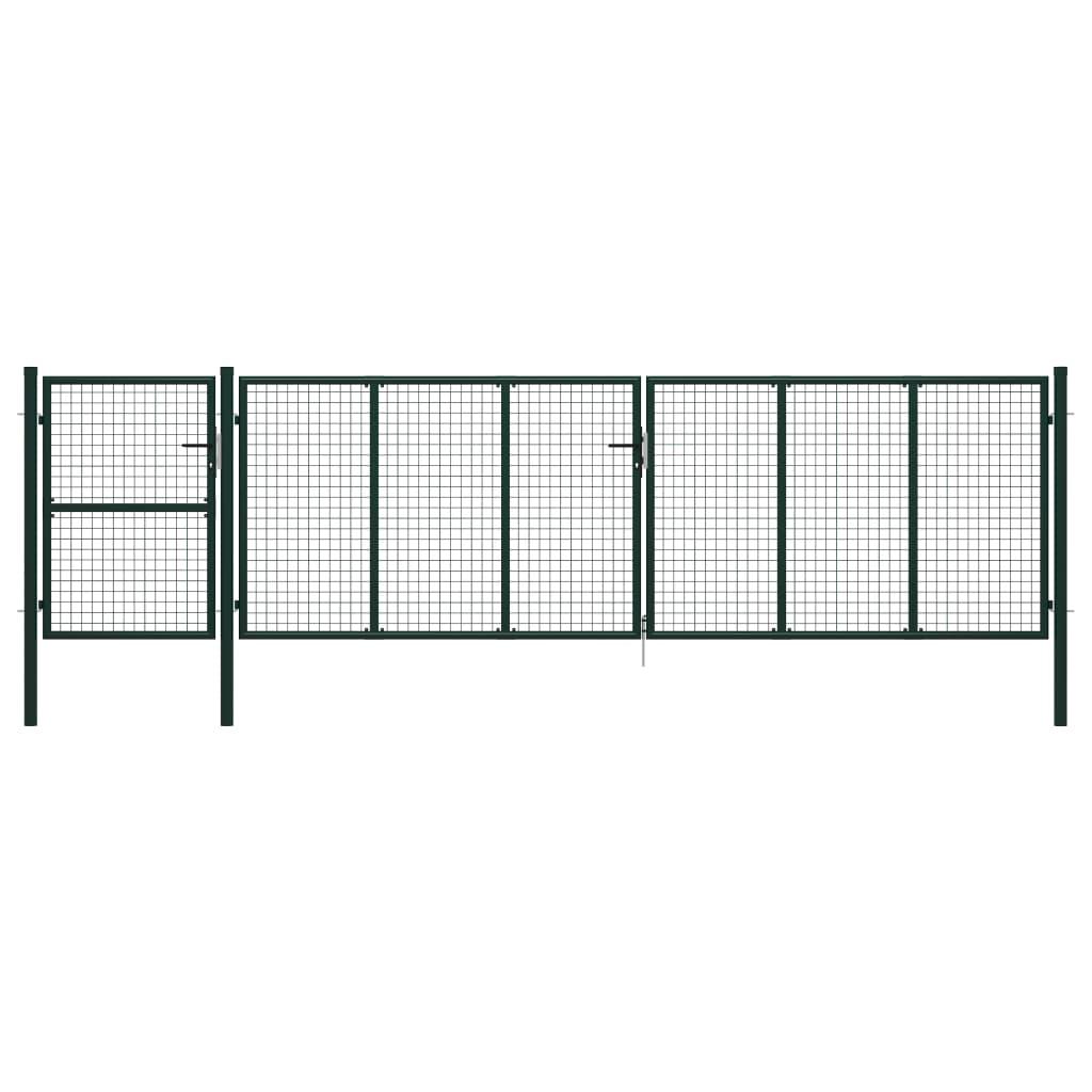 vidaXL Poartă de grădină, verde, 500 x 125 cm, oțel poza 2021 vidaXL