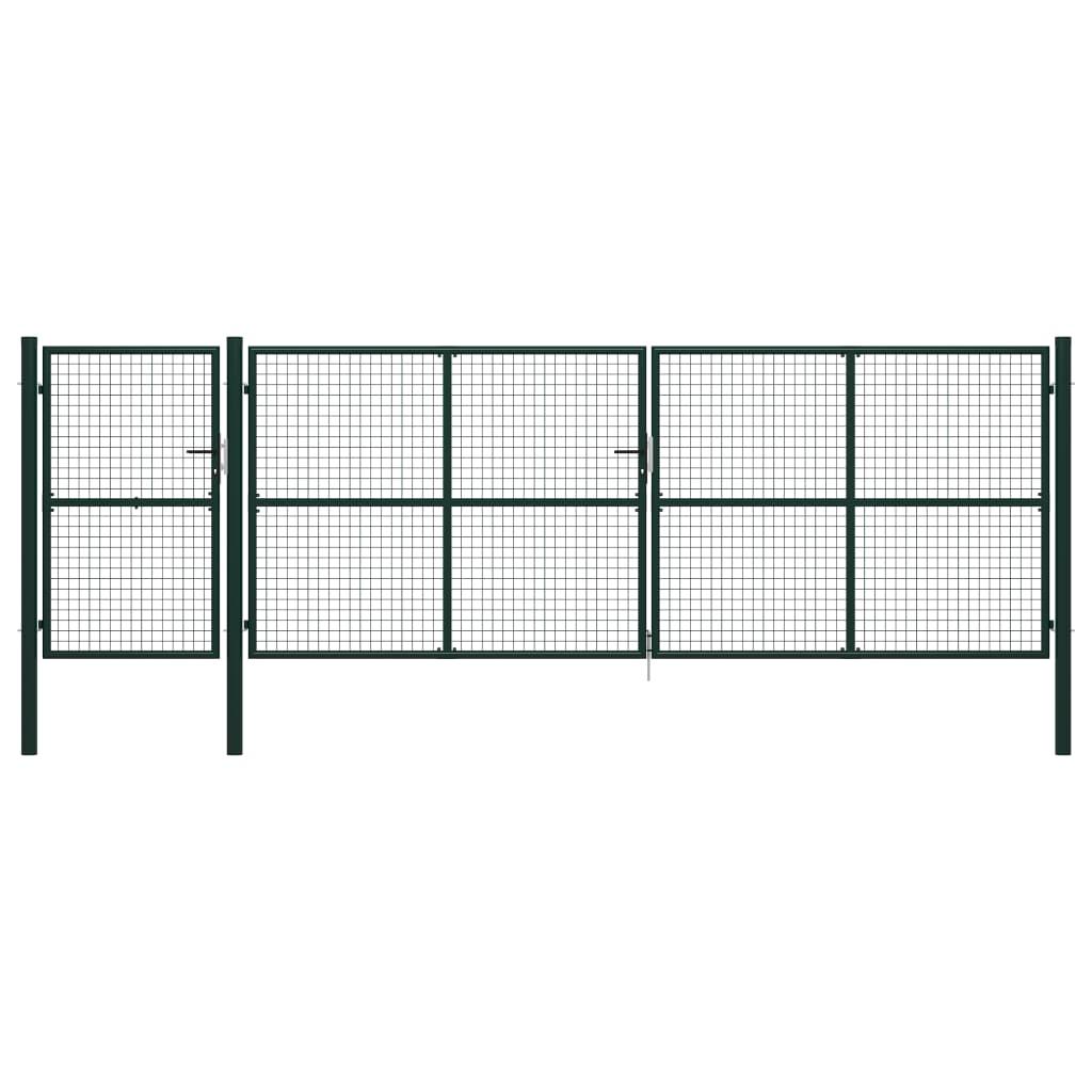 vidaXL Poartă de grădină, verde, 500 x 150 cm, oțel vidaxl.ro