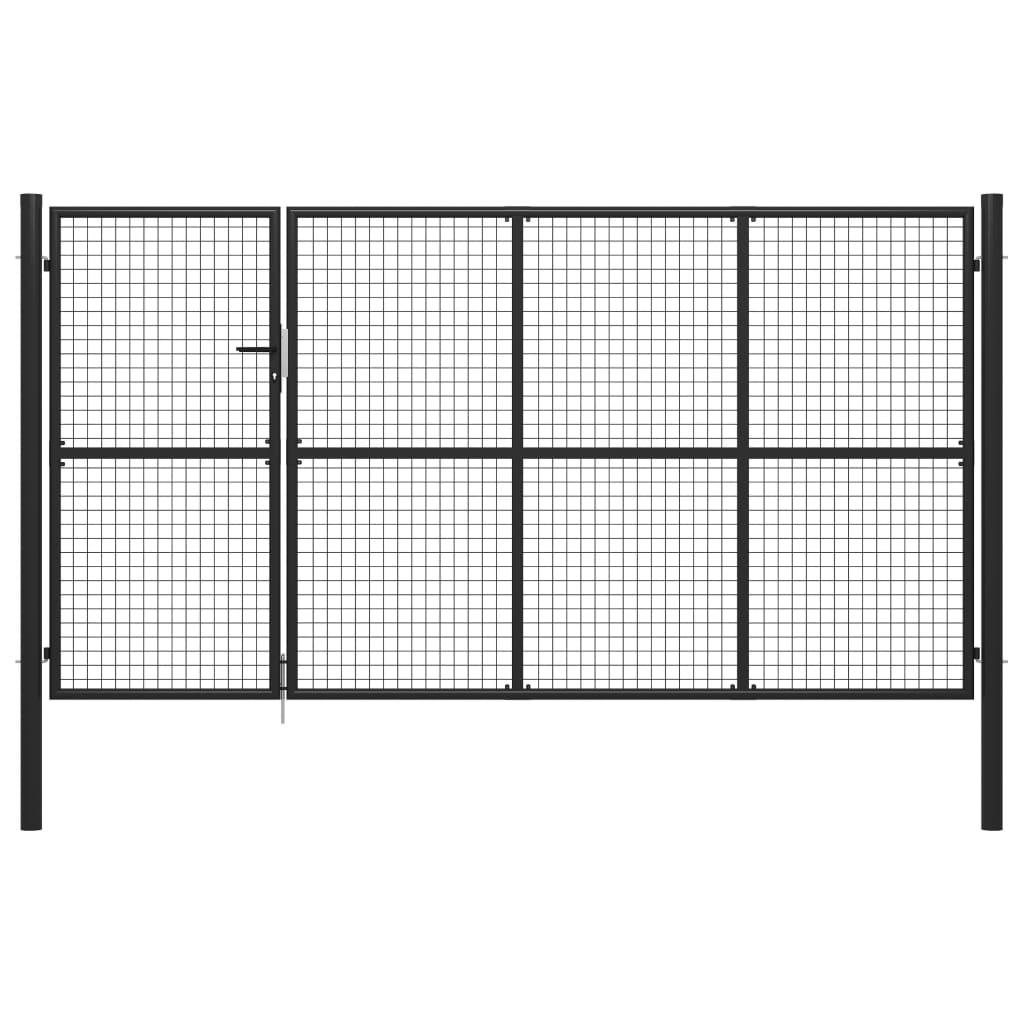 vidaXL Poartă de grădină, antracit, 350 x 150 cm, oțel poza vidaxl.ro
