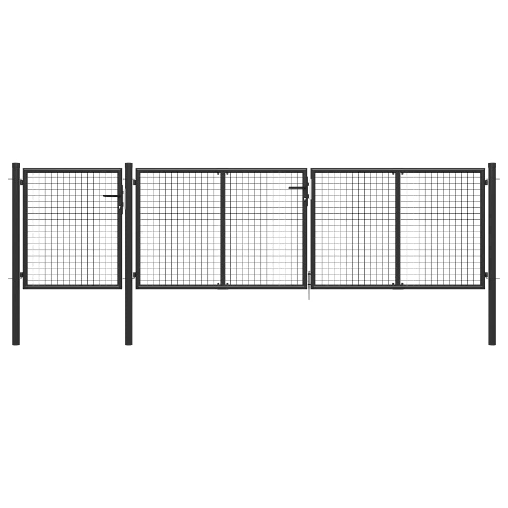vidaXL Poartă de grădină, antracit, 400 x 100 cm, oțel imagine vidaxl.ro