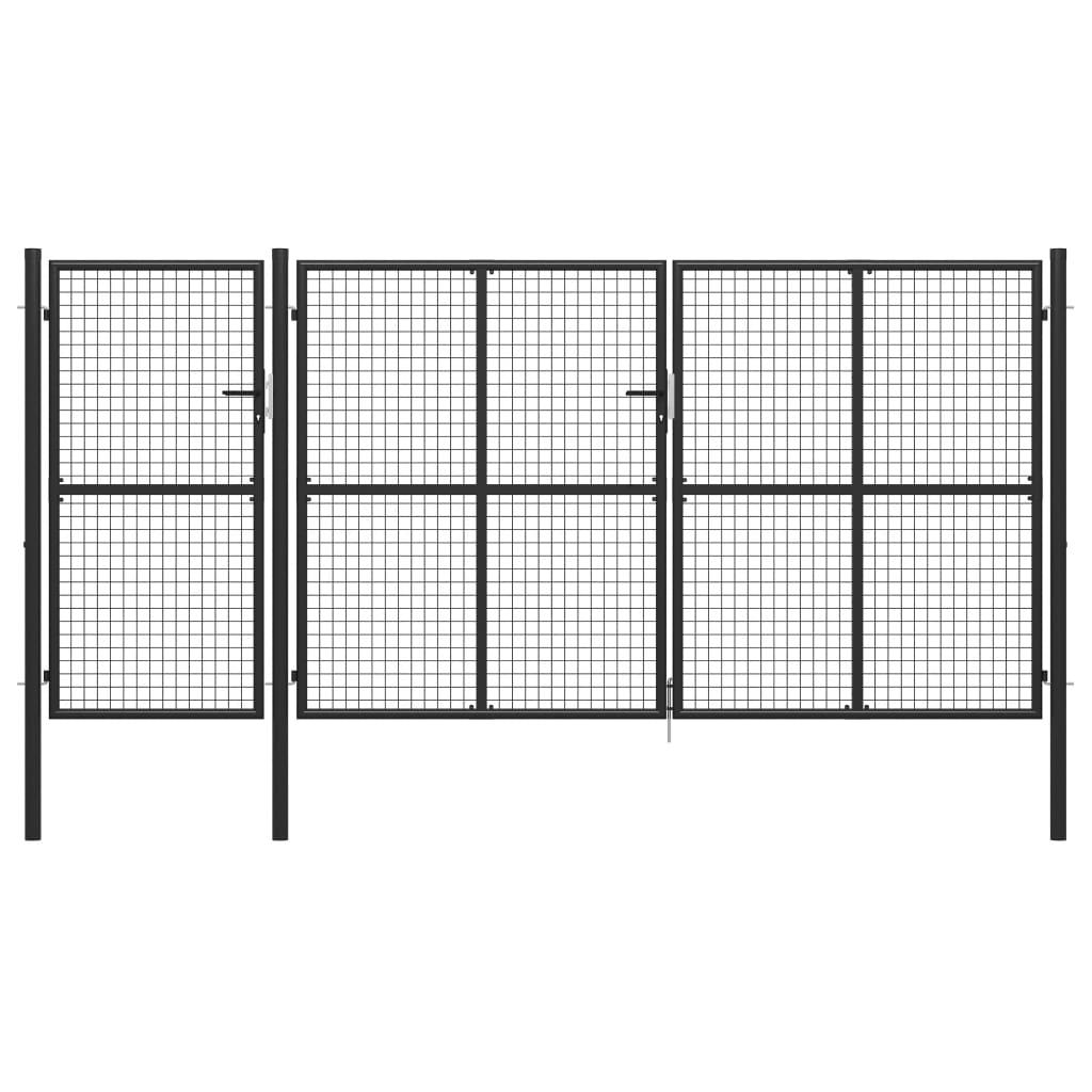vidaXL Poartă de grădină, antracit, 400 x 200 cm, oțel poza 2021 vidaXL