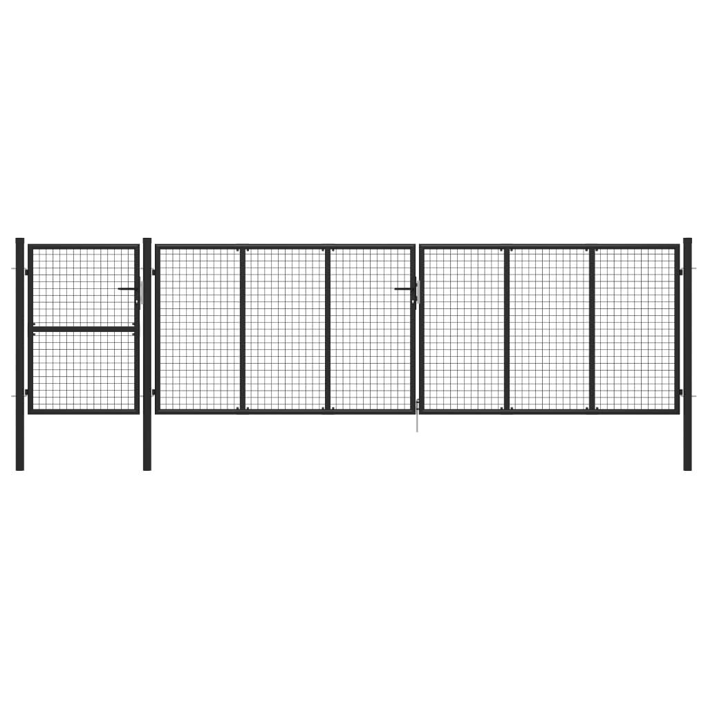 vidaXL Poartă de grădină, antracit, 500 x 125 cm, oțel imagine vidaxl.ro
