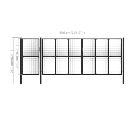 vidaXL Poort 500x200 cm staal antraciet[5/5]