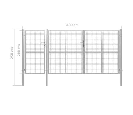 vidaXL Poort 400x200 cm staal zilverkleurig[5/5]