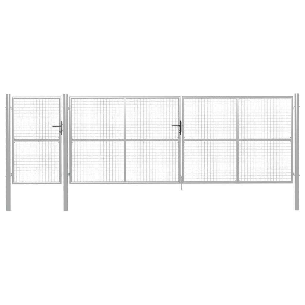 vidaXL Poartă de grădină, argintiu, 500 x 150 cm, oțel vidaxl.ro