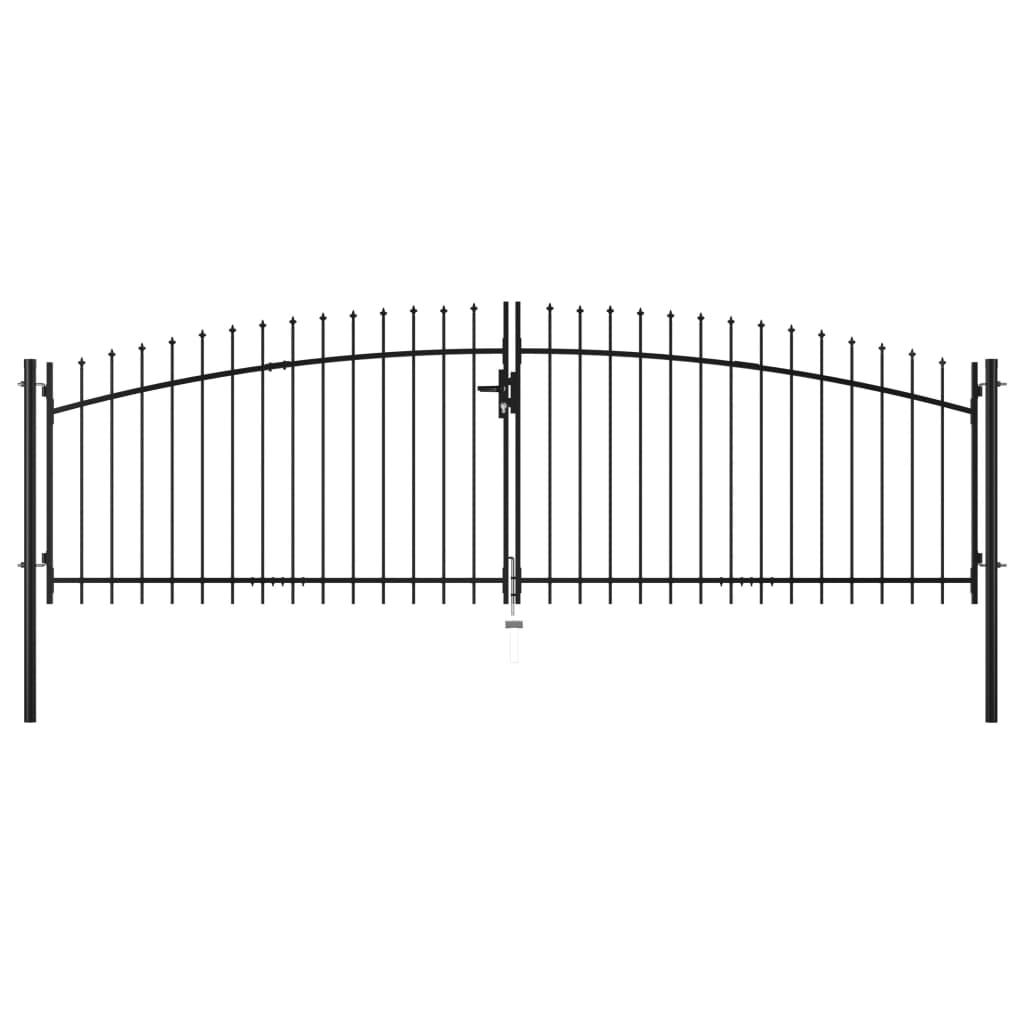 vidaXL Poartă de gard cu uși duble, cu vârfuri de suliță, 400 x 150 cm vidaxl.ro