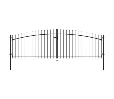 vidaXL Double Door Fence Gate with Spear Top 400x150 cm