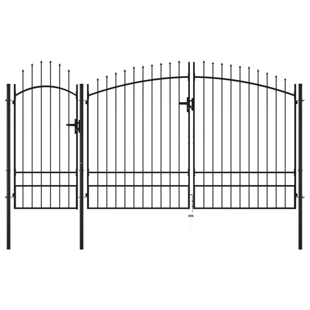 vidaXL Poartă de grădină, negru, 2,45 x 4 m, oțel imagine vidaxl.ro