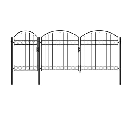 vidaXL Garden Fence Gate with Arched Top Steel 1.75x4 m Black