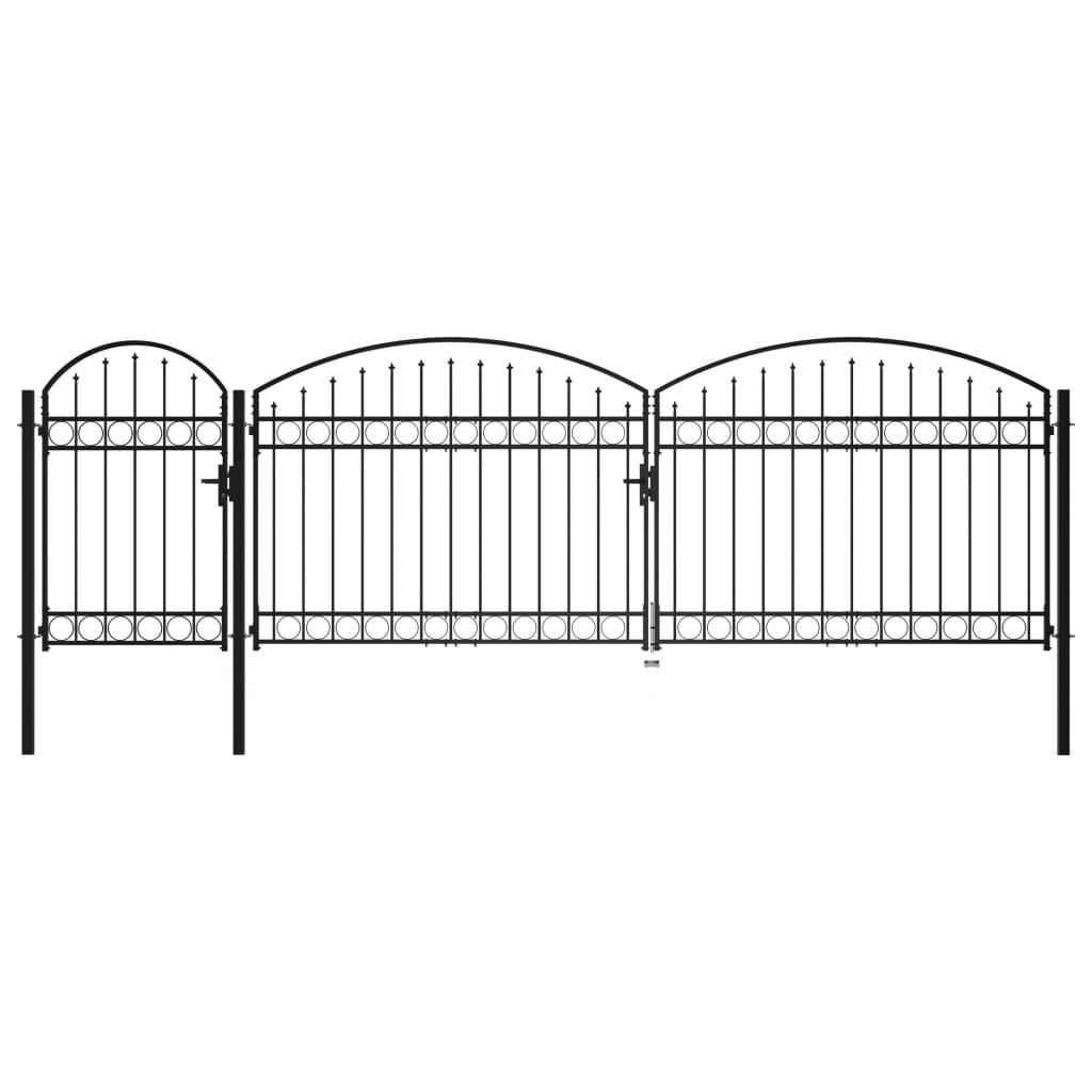 vidaXL Poartă de gard de grădină cu arcadă, negru, 1,75 x 5 m, oțel vidaxl.ro
