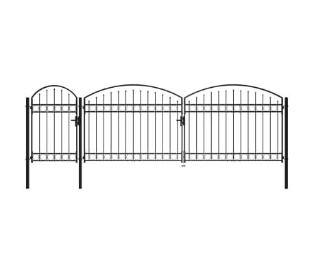vidaXL Puerta de valla jardín con arco superior acero negro 1,75x5 m