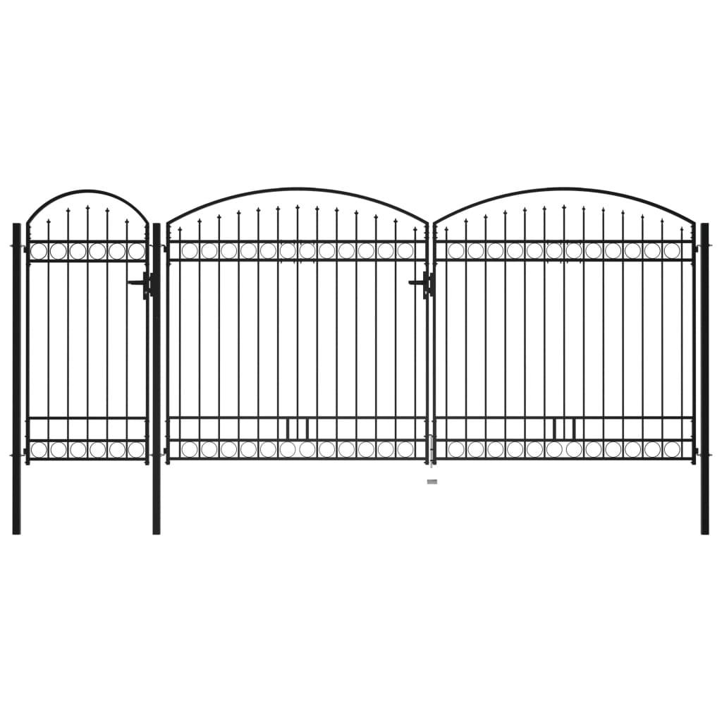 vidaXL Poartă de gard de grădină cu arcadă, negru, 2,25 x 5 m, oțel poza 2021 vidaXL
